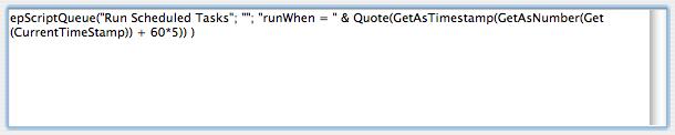 Schedule a script to run in five minutes.